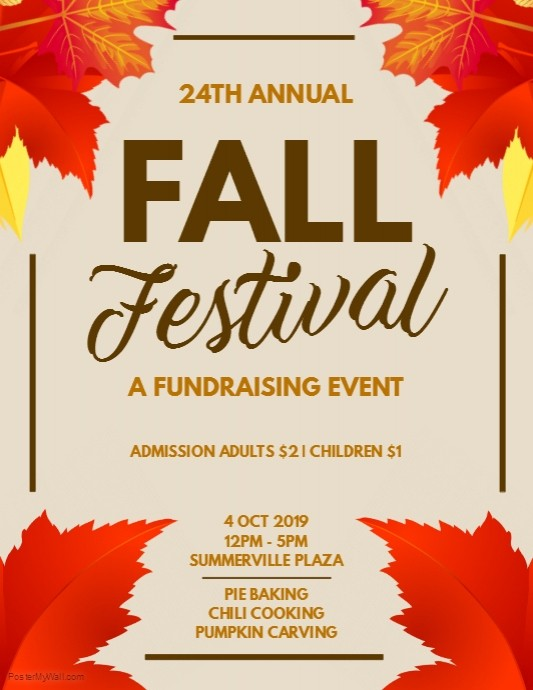 Fall Festival Fundraising Flyer Template Postermywall