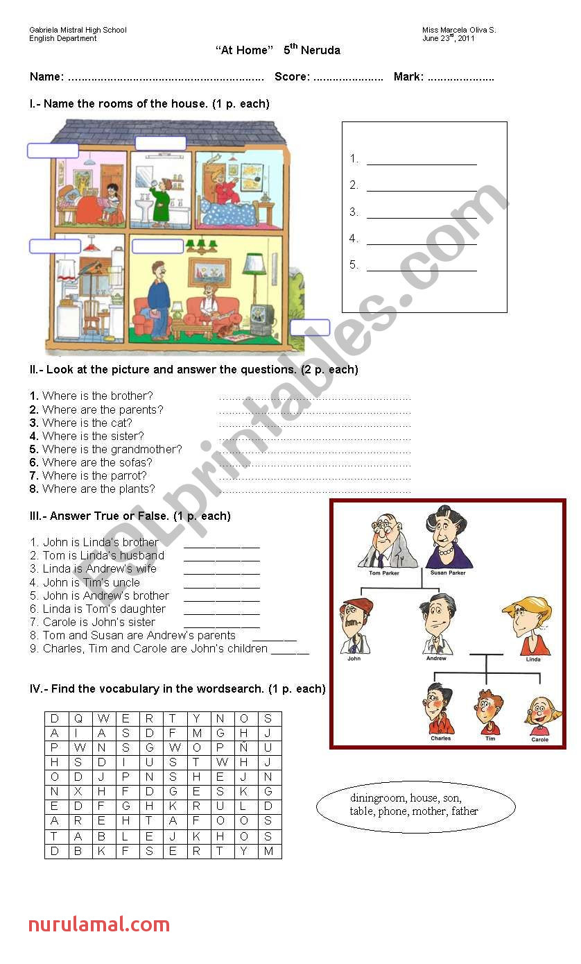 Family and Home Esl Worksheet by Marceoliva