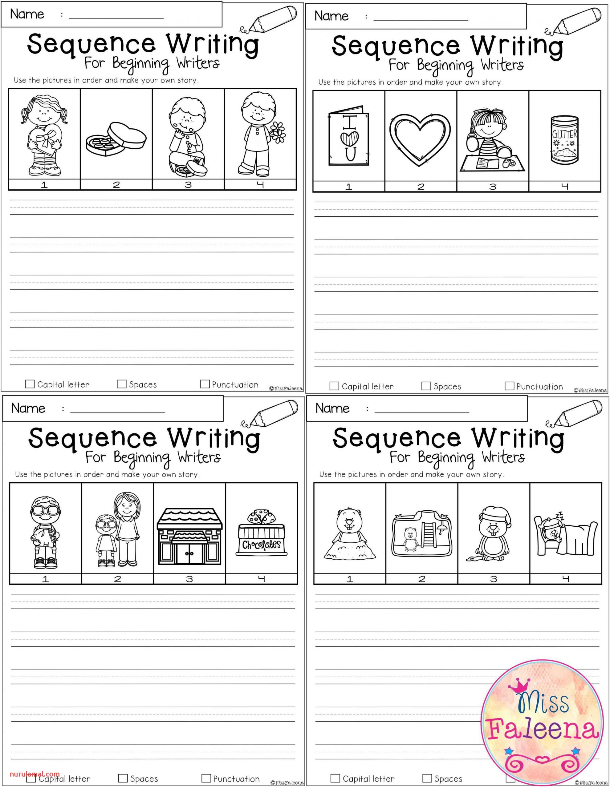 February Sequence Writing for Beginning Writers