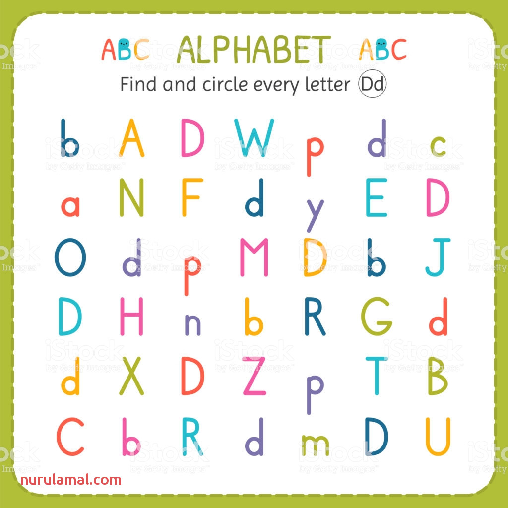 find and circle every letter d worksheet for kindergarten and for vector id
