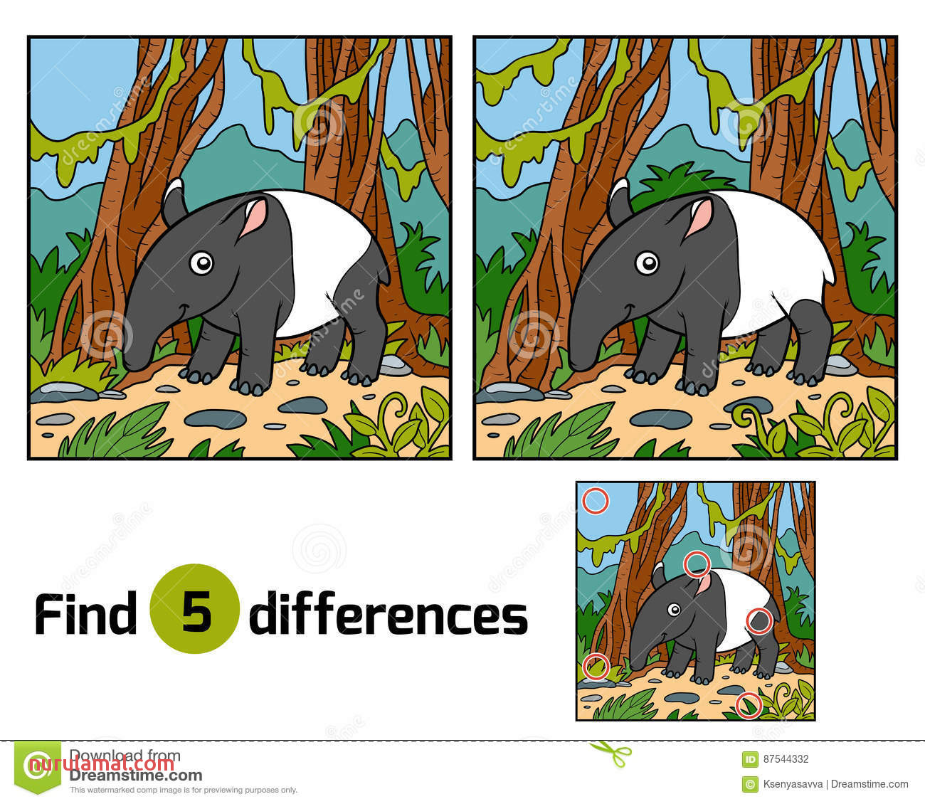 Find Differences Education Game Malayan Tapir Stock Vector