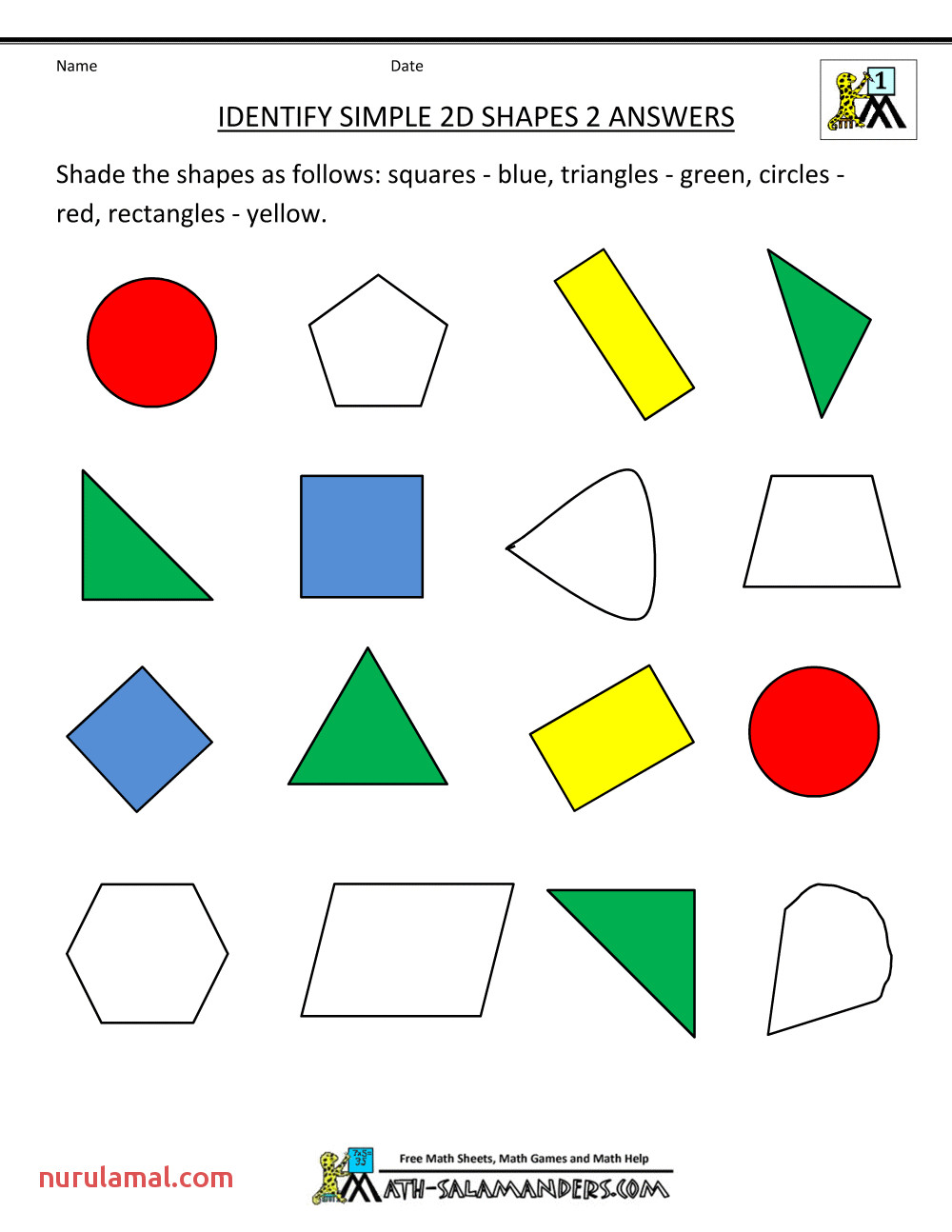 free printable geometry worksheets identify simple 2d shapes 2ans