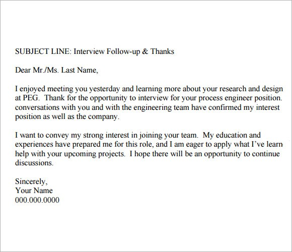Follow Up Email After Interview Template Free