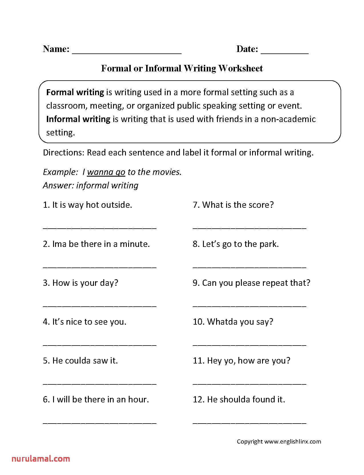 Formal or Informal Writing Worksheet