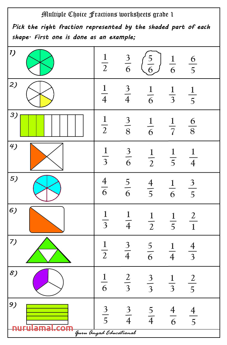 Fractions Worksheets Year 1 & Fraction Action Printable 2nd