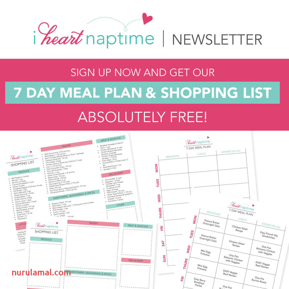 Free 7 Day Meal Plan I Heart Naptime