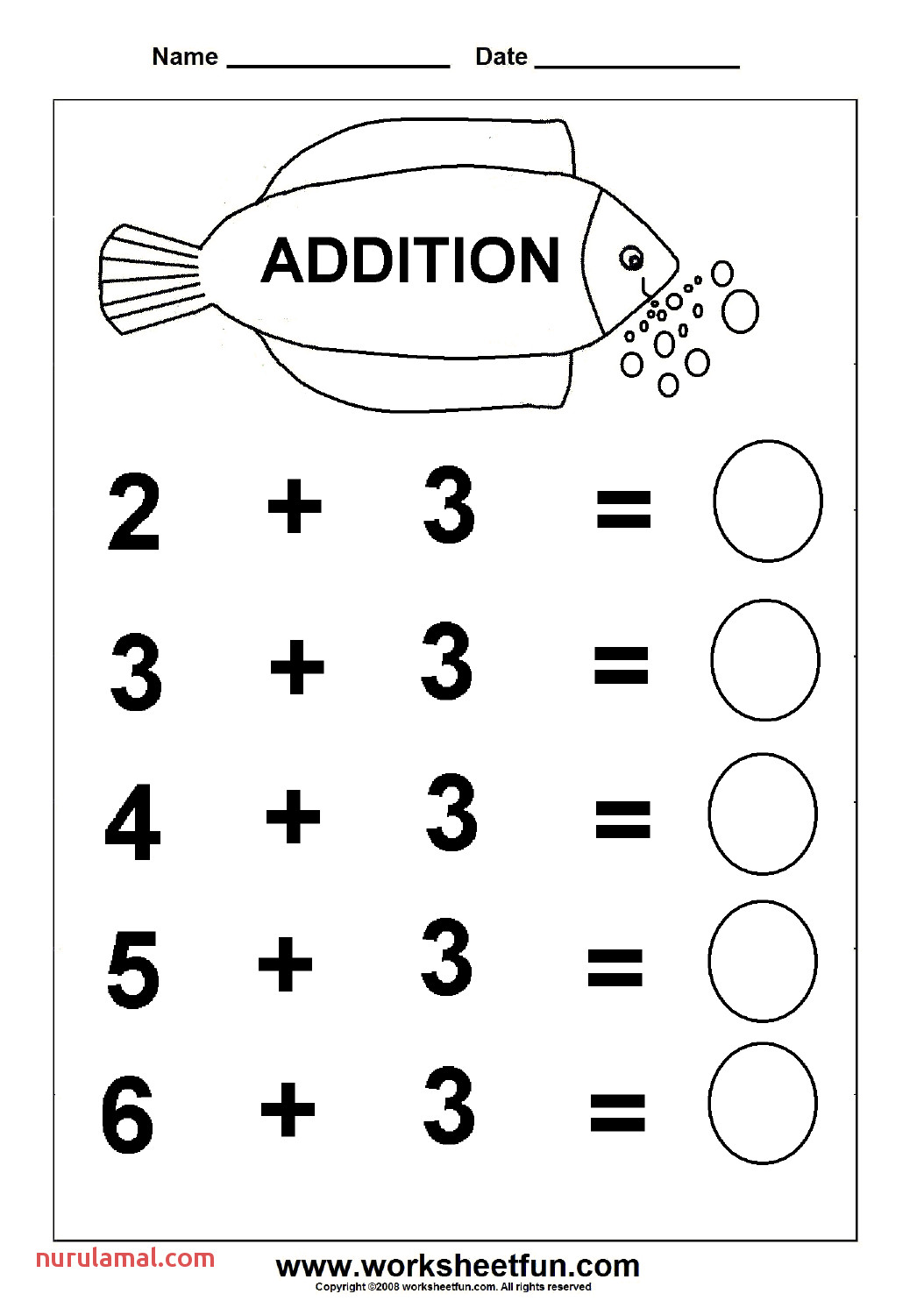 Free Addition Worksheets for Kindergarten & Addition with