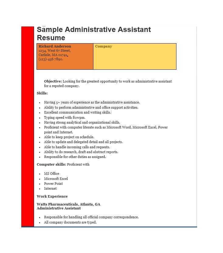 Free Administrative Assistant Resume Samples