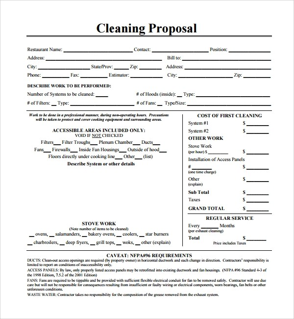Free Apartment Cleaning Bid Proposal Template Html Autos