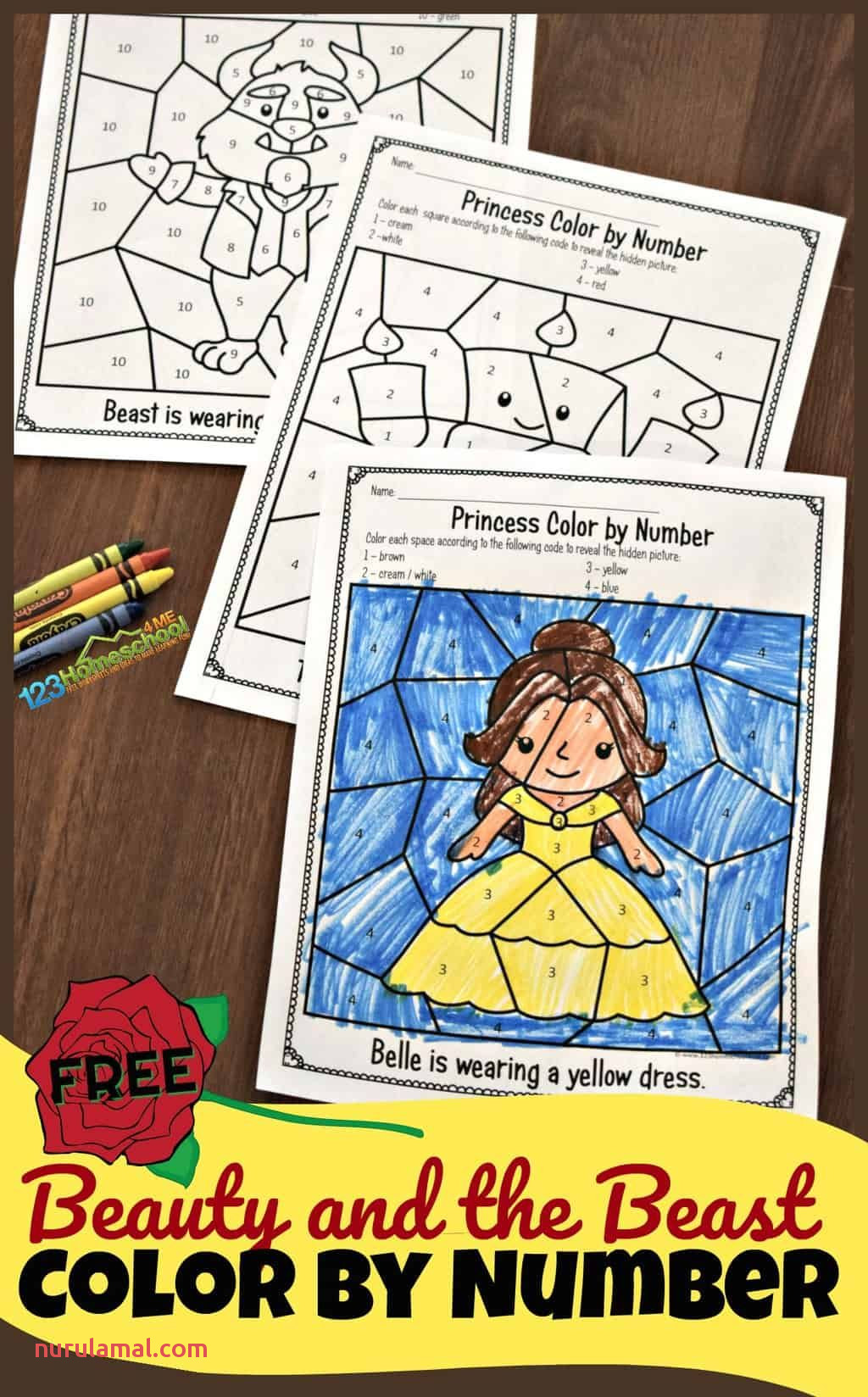 Free Beauty and the Beast Color by Number Worksheets