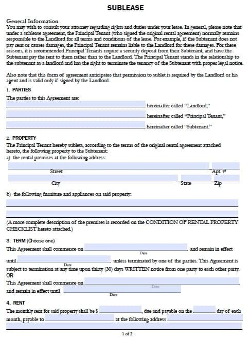 Free California Sublease Agreement Form Pdf Template