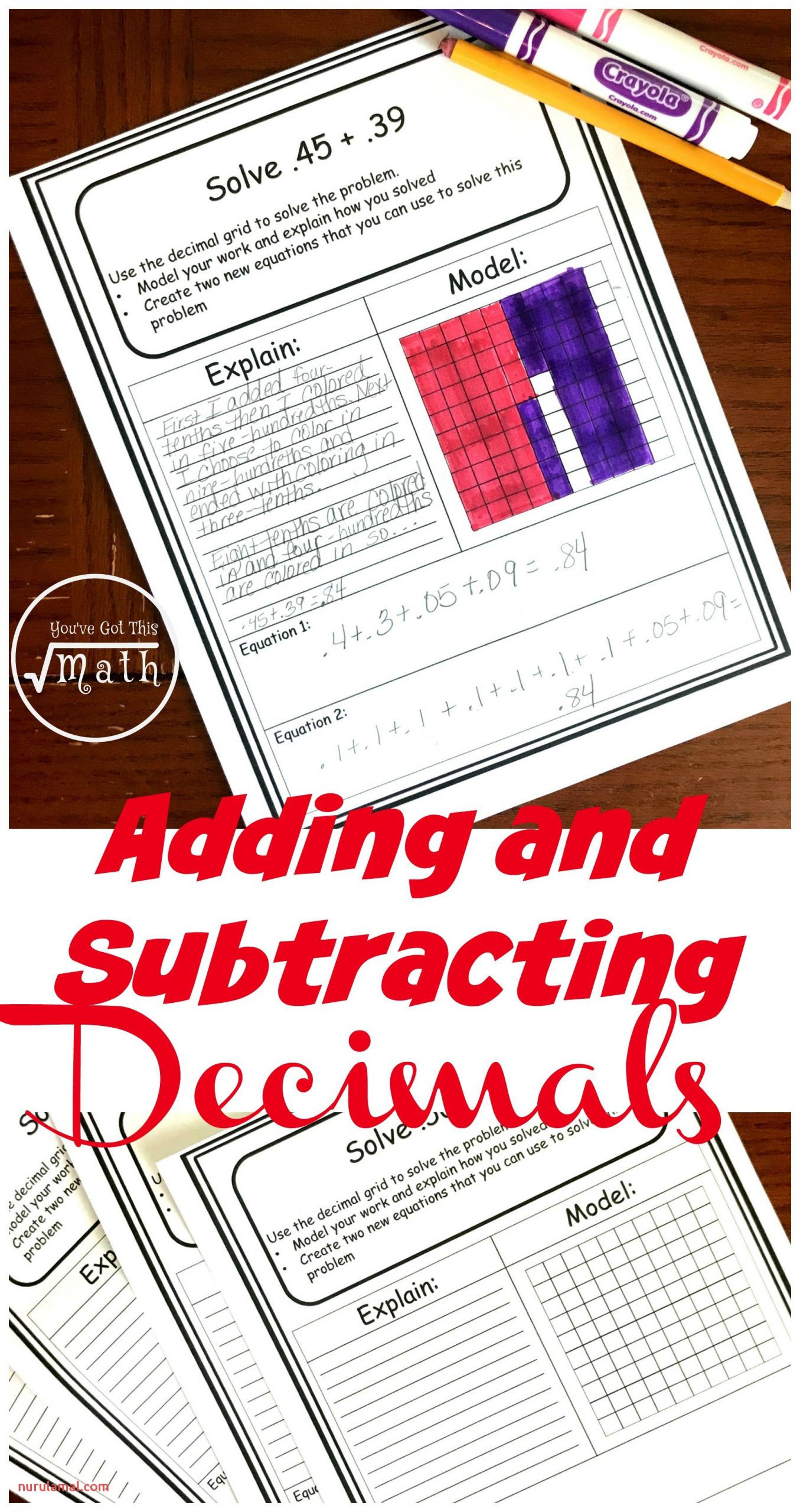 decimal addition and subtraction worksheets pin