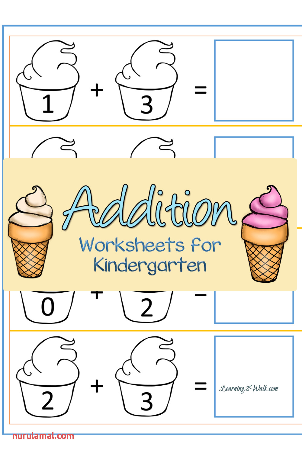 Free Ice Cream Addition Worksheets for Kindergarten