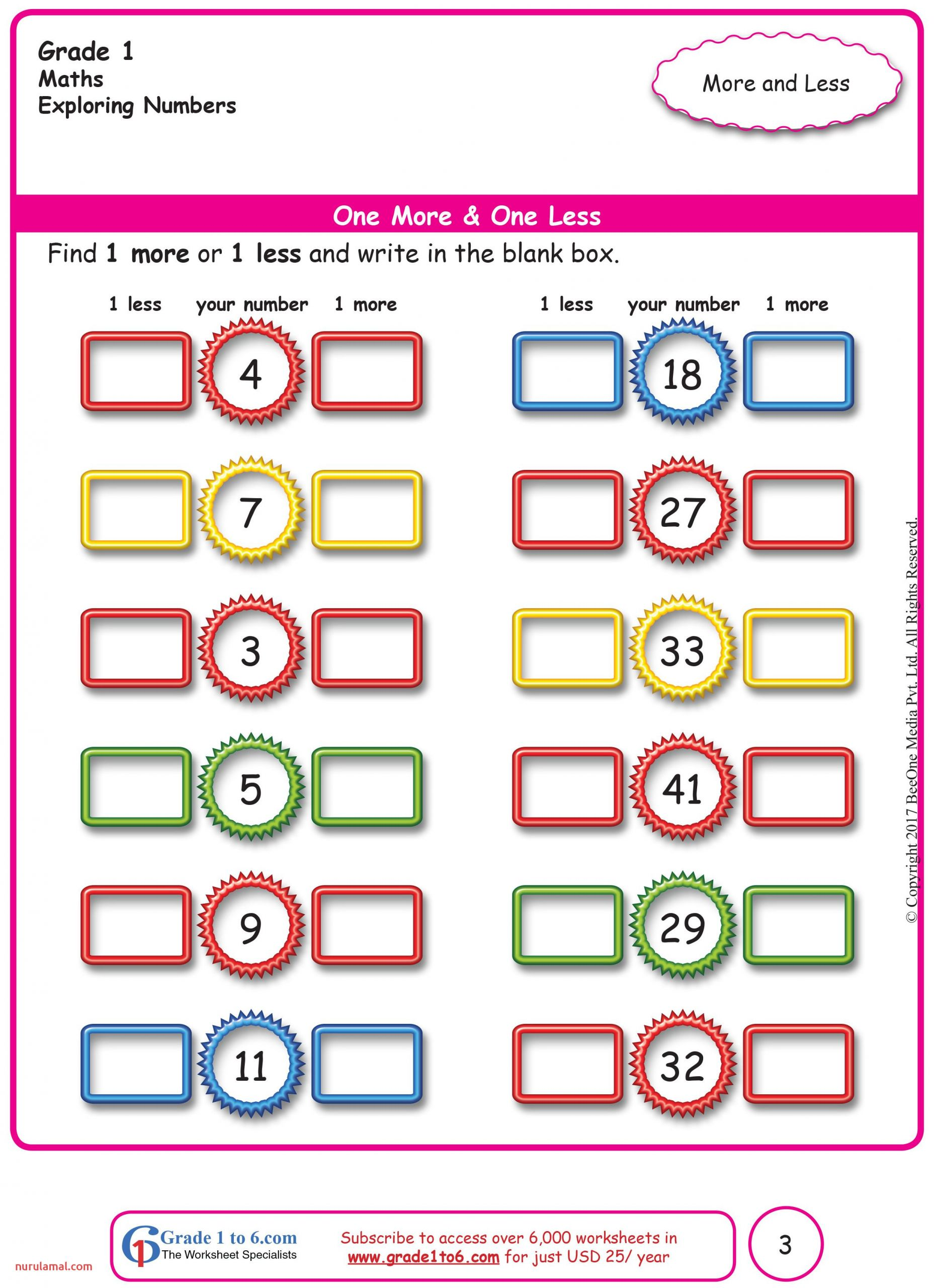 Free Math Worksheets for Grade 1 Through Grade 6 Subscribe