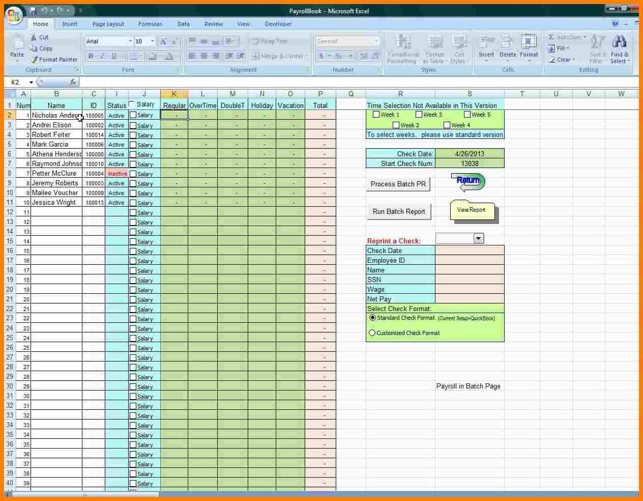 Free Payroll Excel Template Samples Of Paystubs