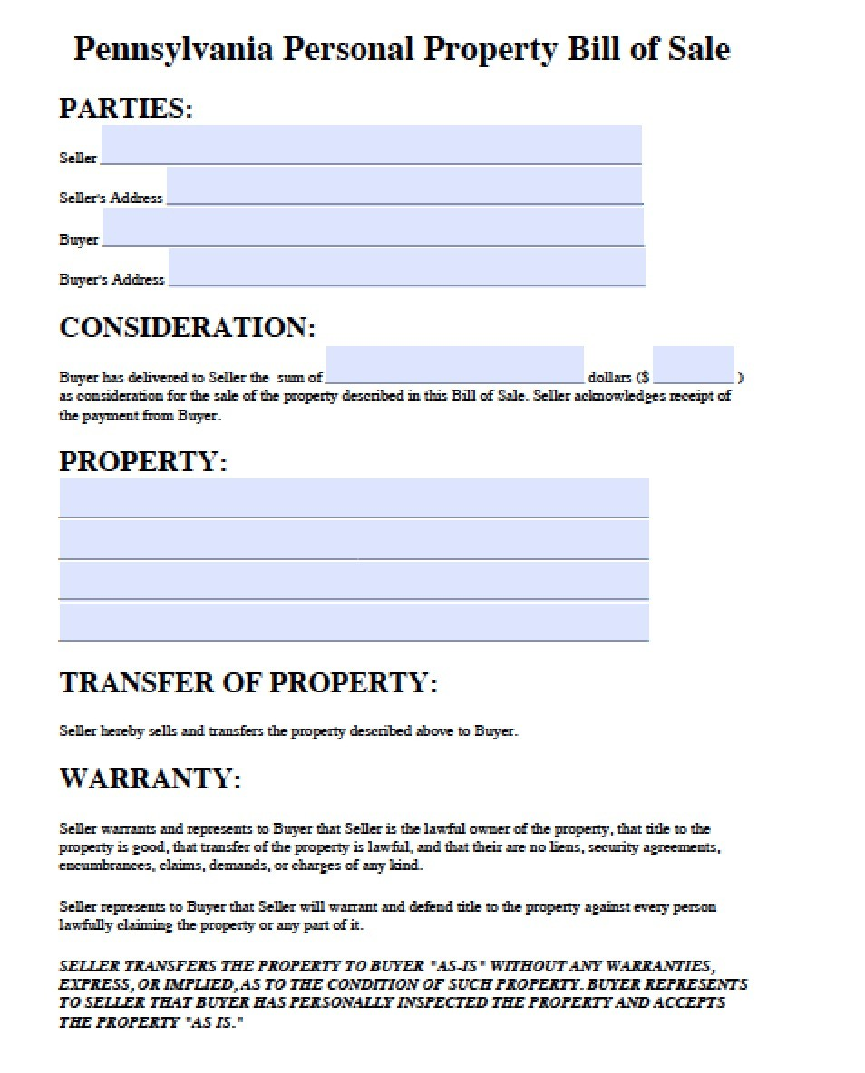 Sample Bill Of Sale Personal Property