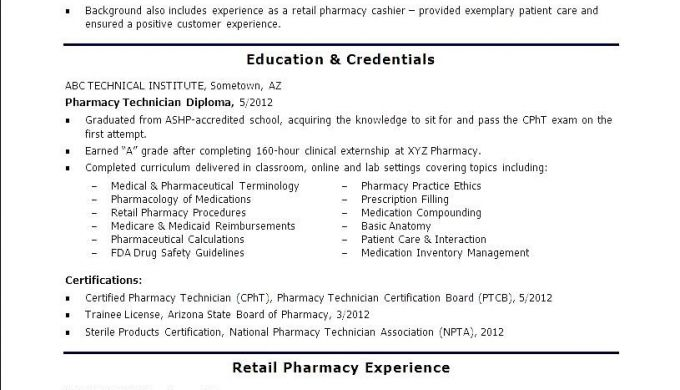 Free Pharmacy Technician Resume Free Samples Examples