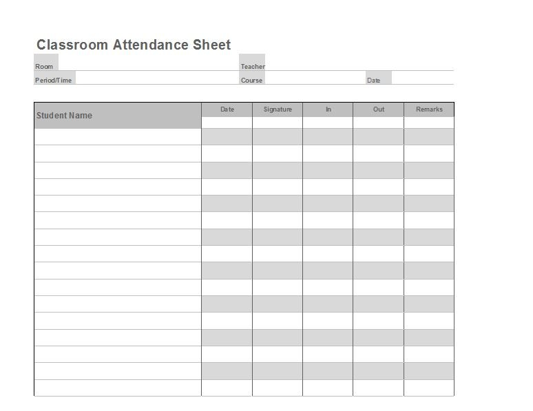 Free Printable Attendance Sheet Templates Free