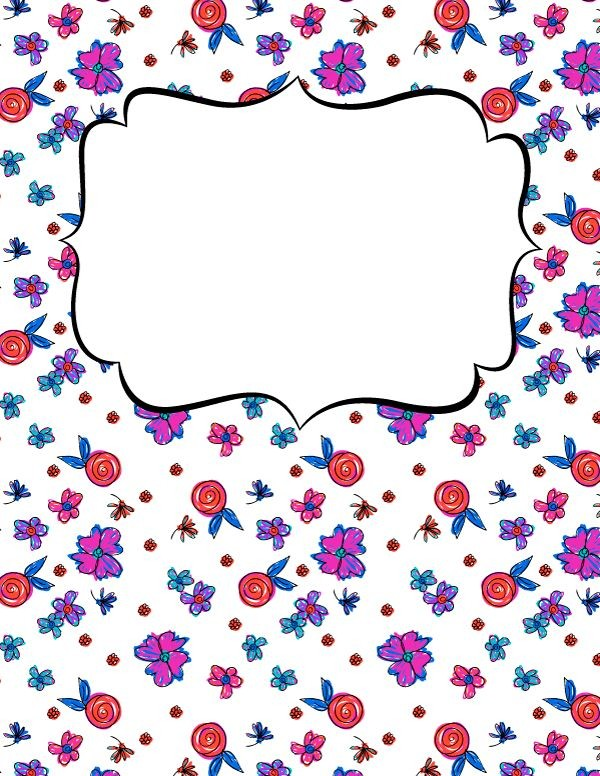 Free Printable Floral Doodle Binder Cover Template
