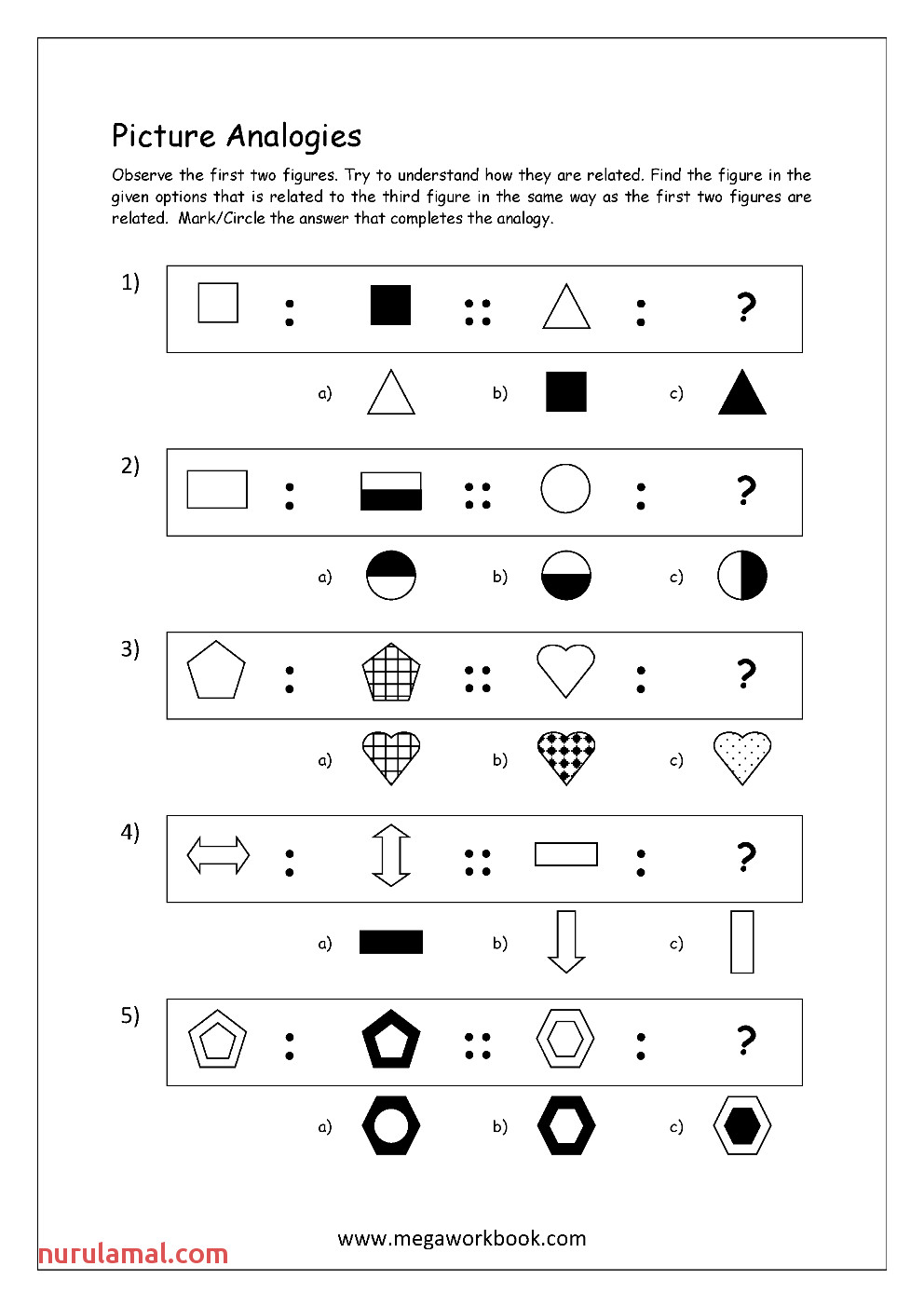 Free Printable Picture Analogy Worksheets Logical