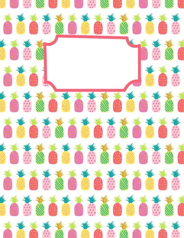 Free Printable Pineapple Binder Cover Template. Download