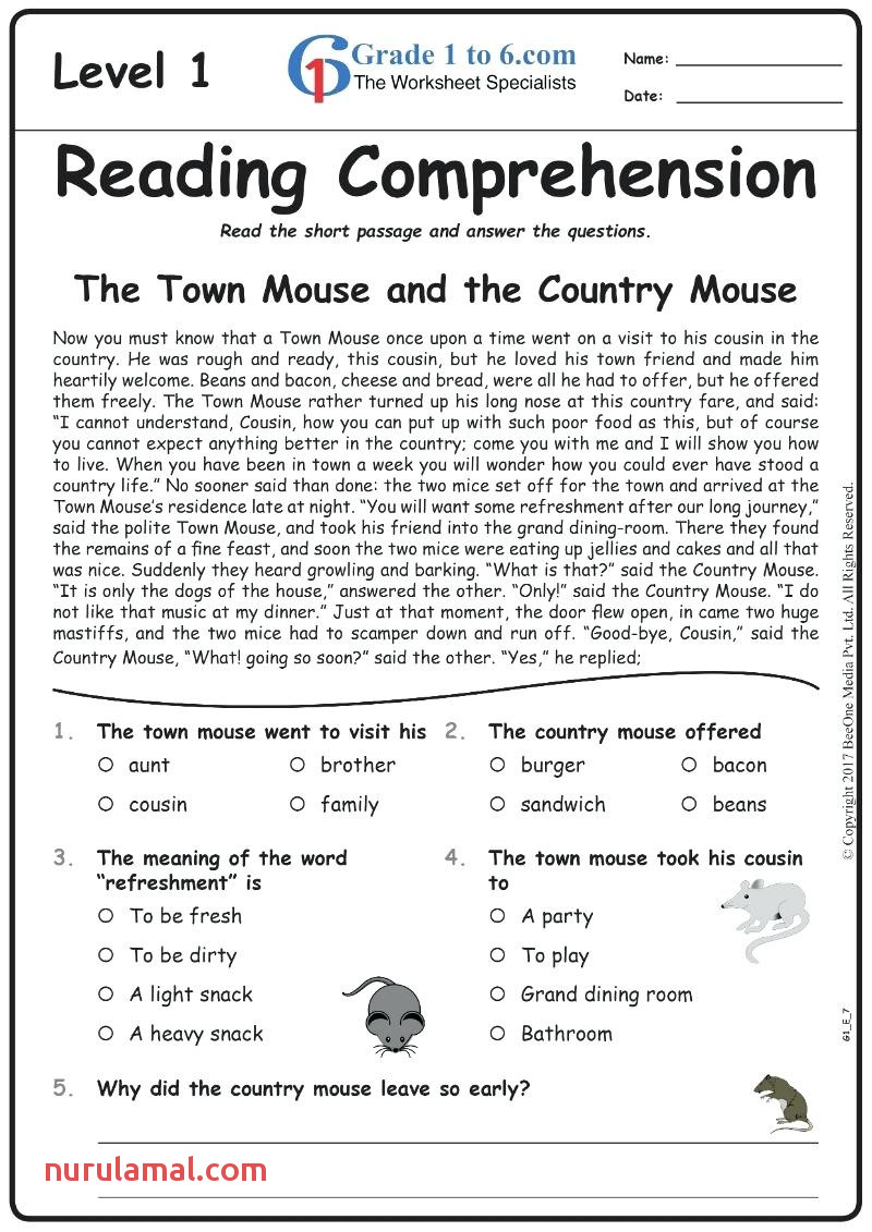 Free Printable Sixth De Reading Prehension Worksheets for