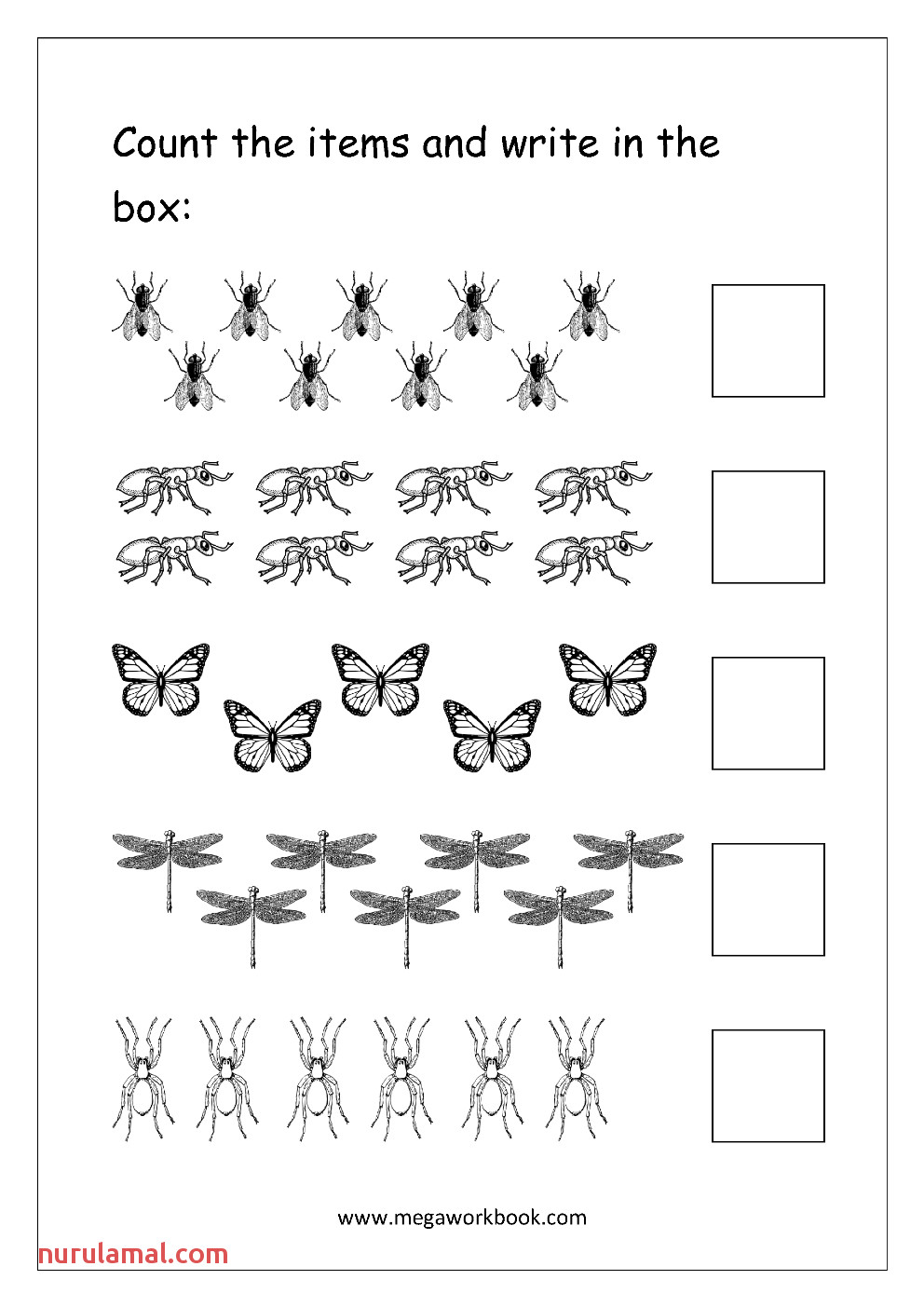 Free Printable Umber Ine Worksheet for Kindergarten