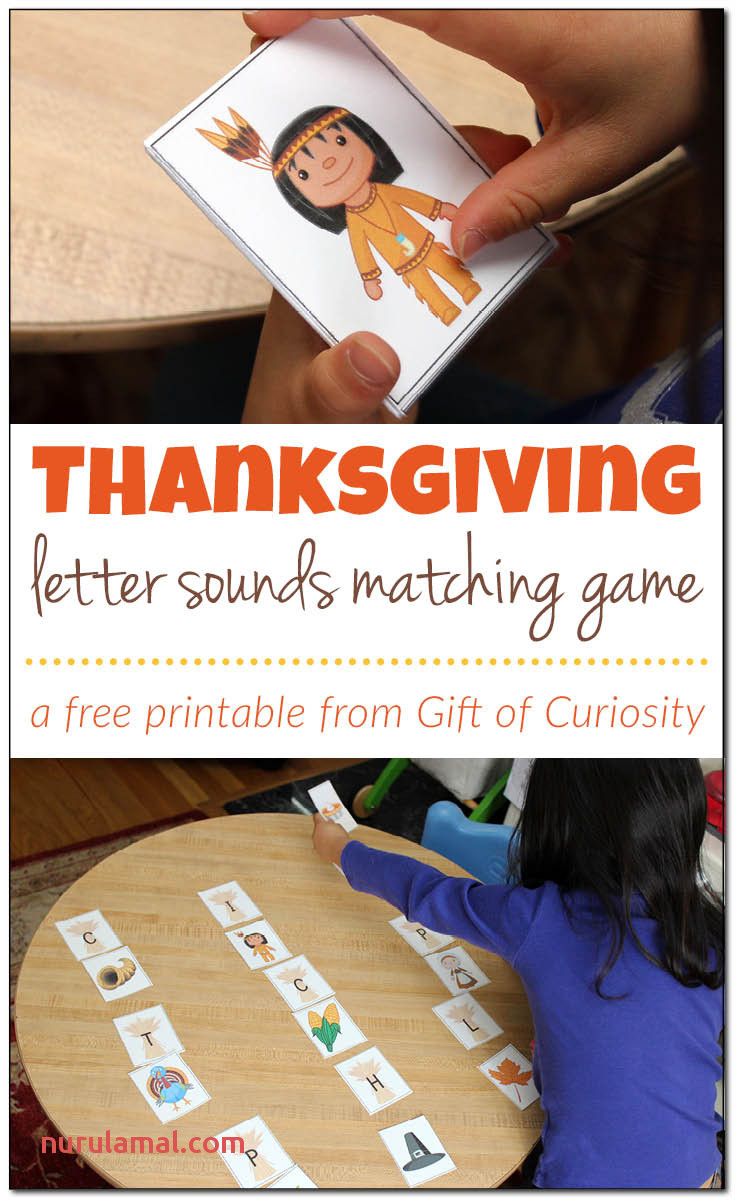 Thanksgiving letter sounds matching game Gift of Curiosity
