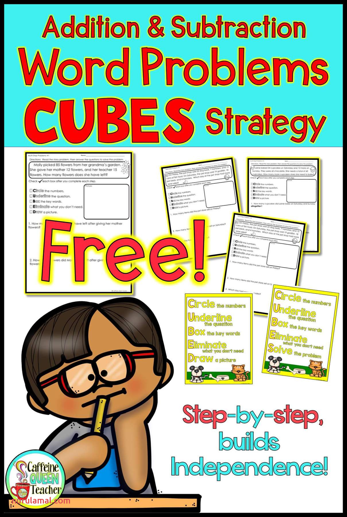 cubes word problem strategy worksheets for addition and subtraction image1