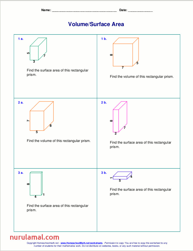 volume surface area rectangular prisms