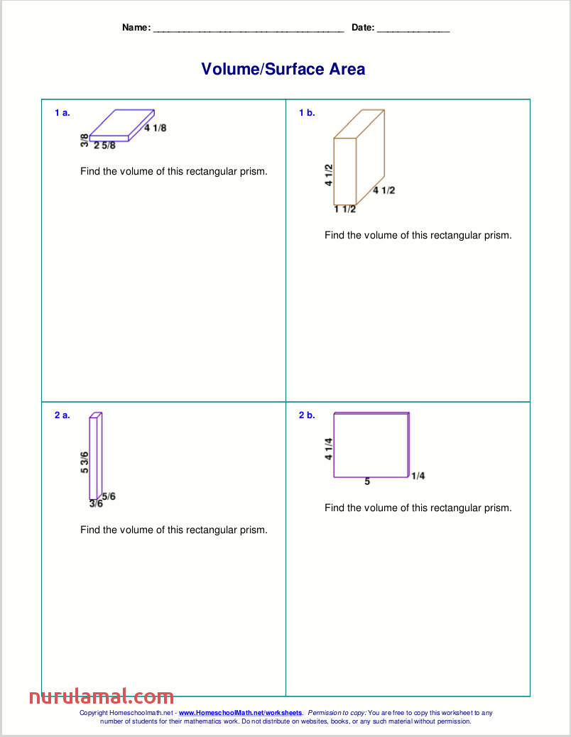 Free Worksheets for the Volume and Surface area Of Cubes