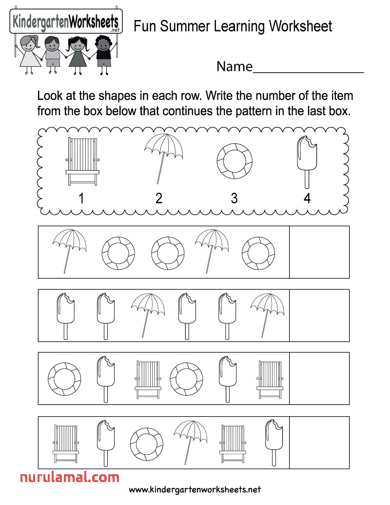Fun Summer Learning Sheet Free Kindergarten Seasonal Kids