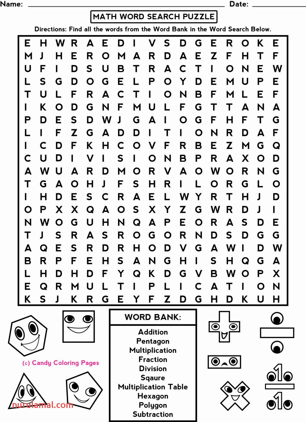 Fun Worksheets for 5th De Kids Printable Math Puzzles Game