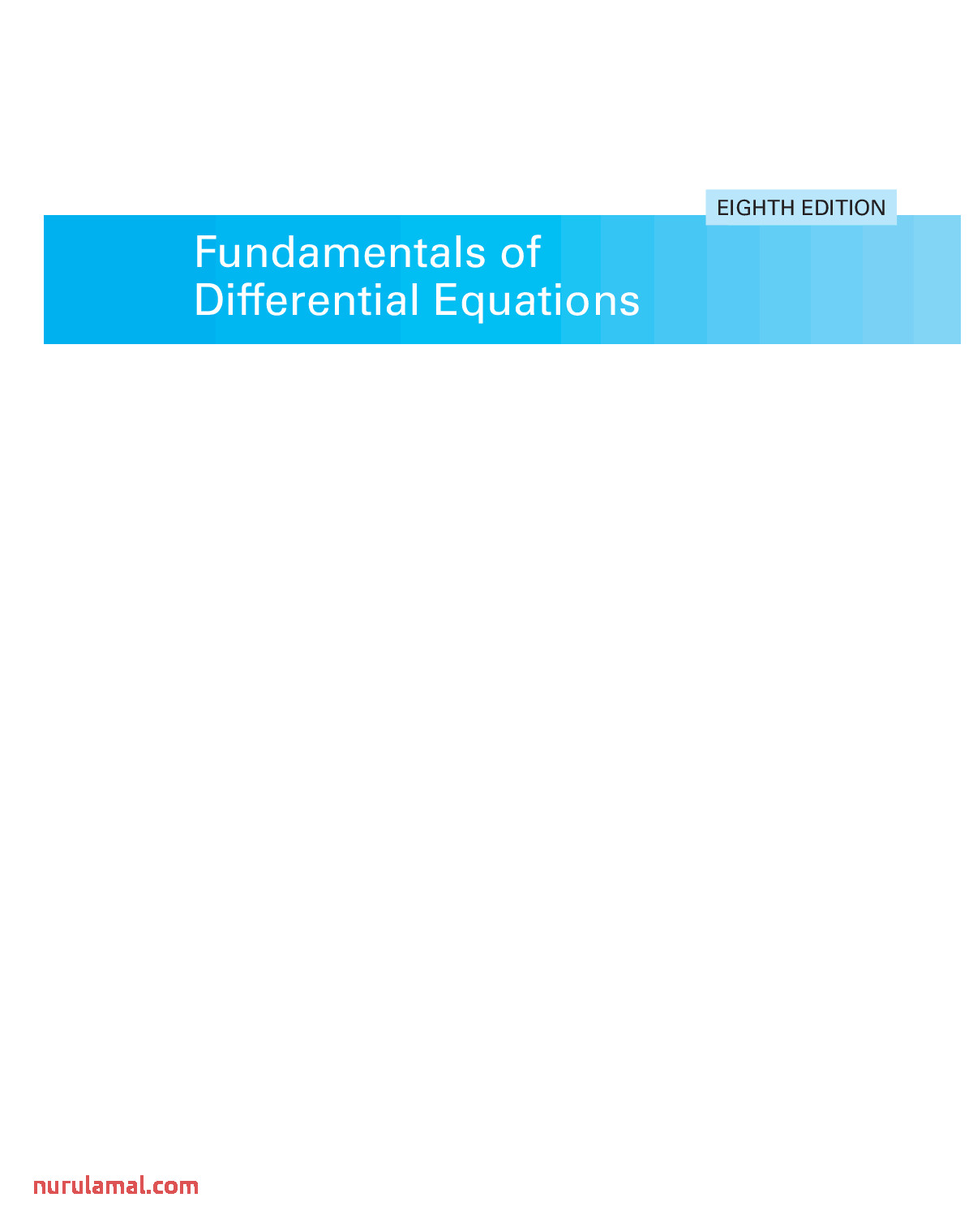 Fundamentals Of Differential Equations 8th Ed R Nagle Et