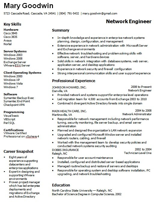 Get The Work With This Network Administrator Resume Sample