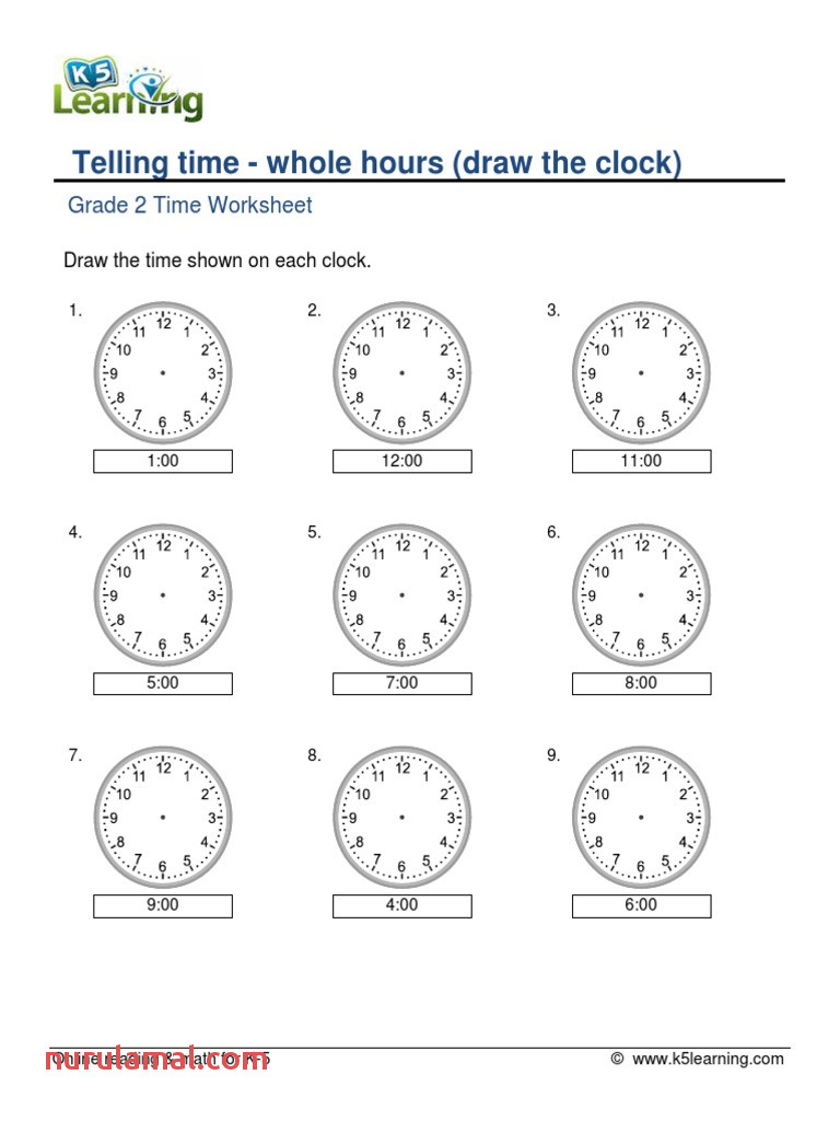 Grade 2 Telling Time whole Hours Draw Clock A 1