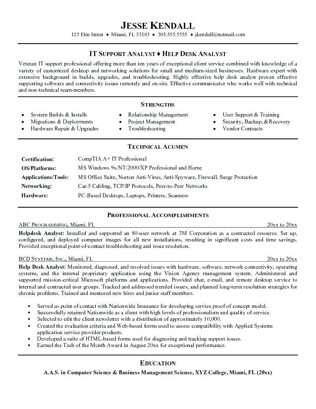 Help Desk Support Resume