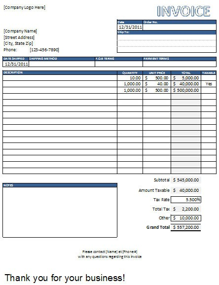 Hourly Invoice Template Excel Invoice Example
