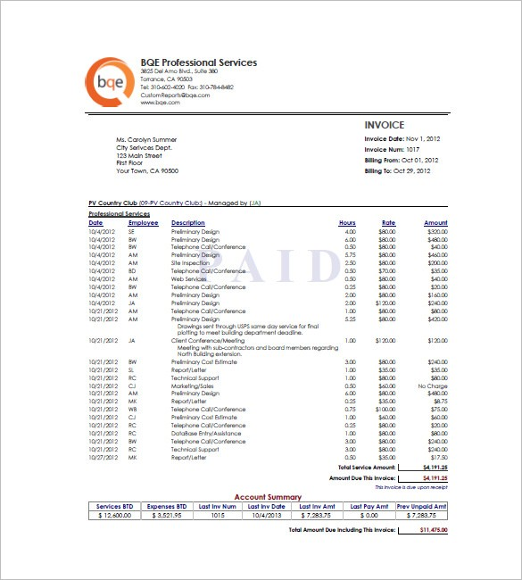 Hourly Invoice Template Free Word Excel Pdf Format