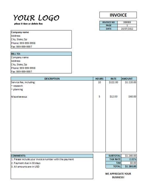 Hourly Invoice Template Hourly Rate Invoice Templates Free