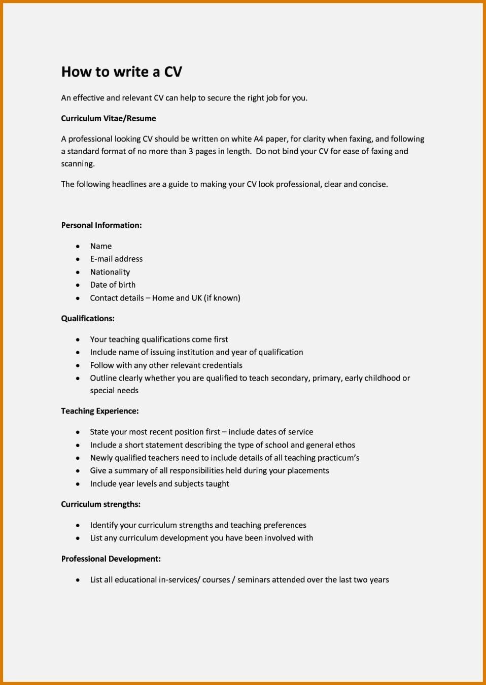 How To Create A Cv For A Year Old Resume Template