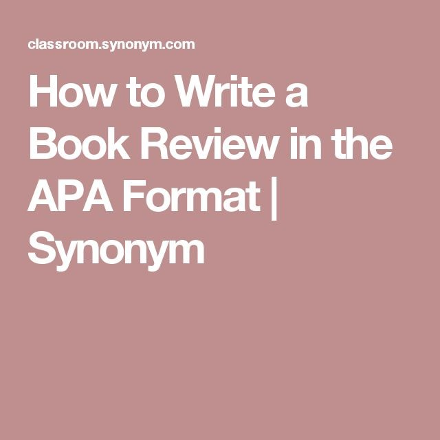 How To Write A Book Review Apa Format