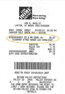 I Bought My Products At Home Depot And Provided A Receipt