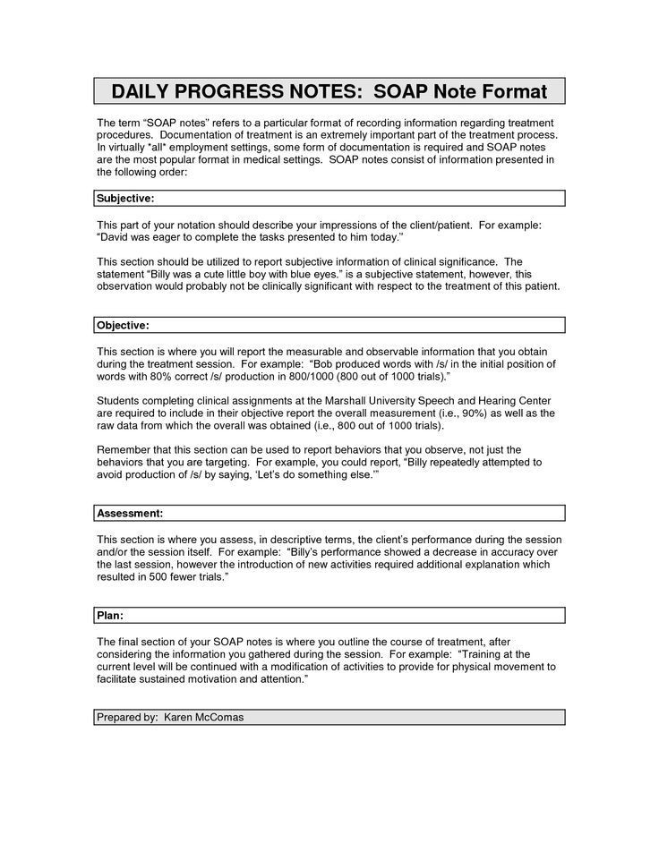 Image Result For Soap Notes Examples Occupational Therapy
