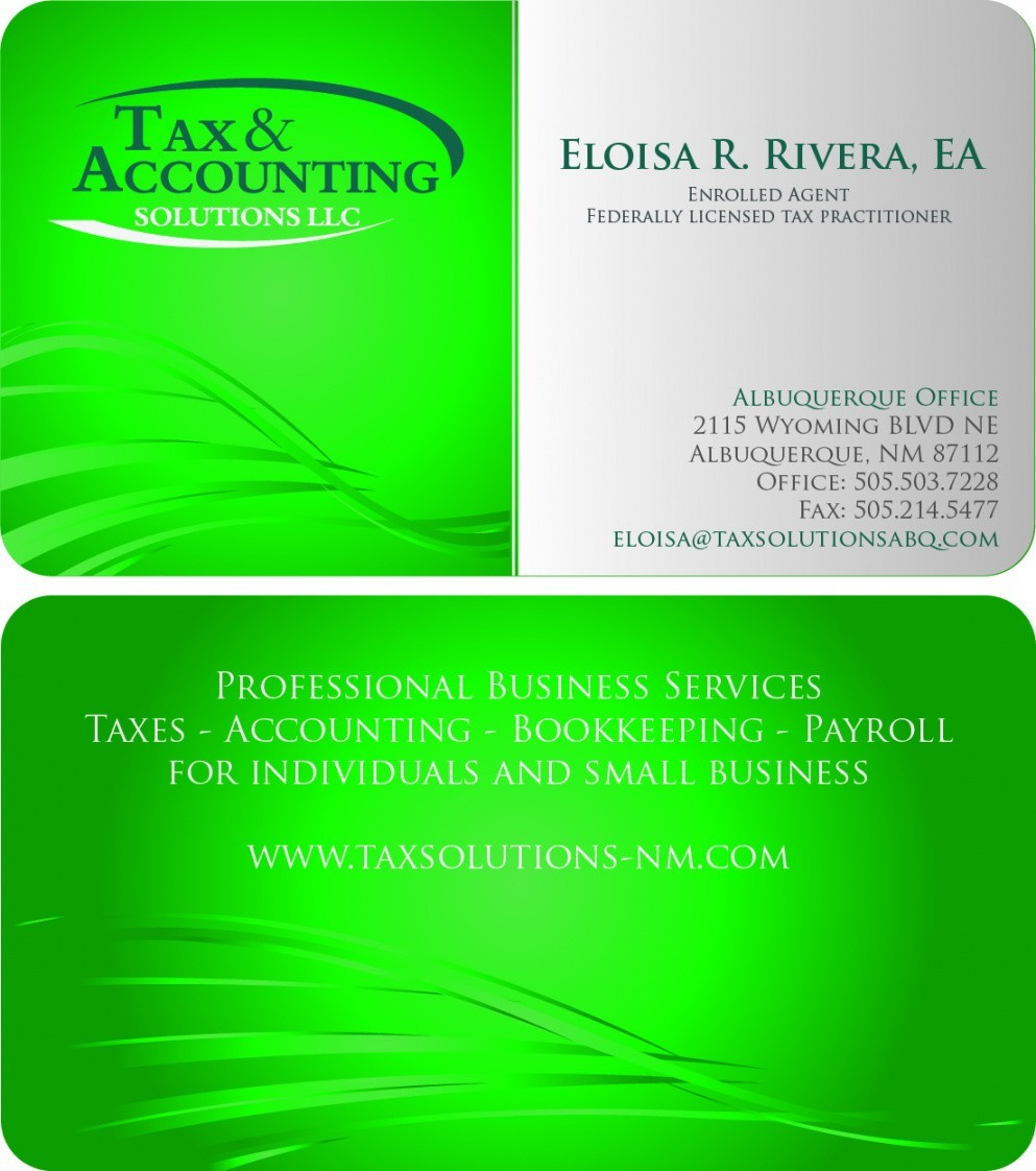 Income Tax Business Card Templates Tax Business Card