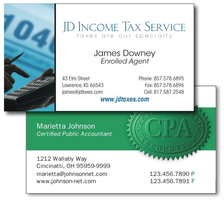 Income Tax Business Cards Image Collections Business