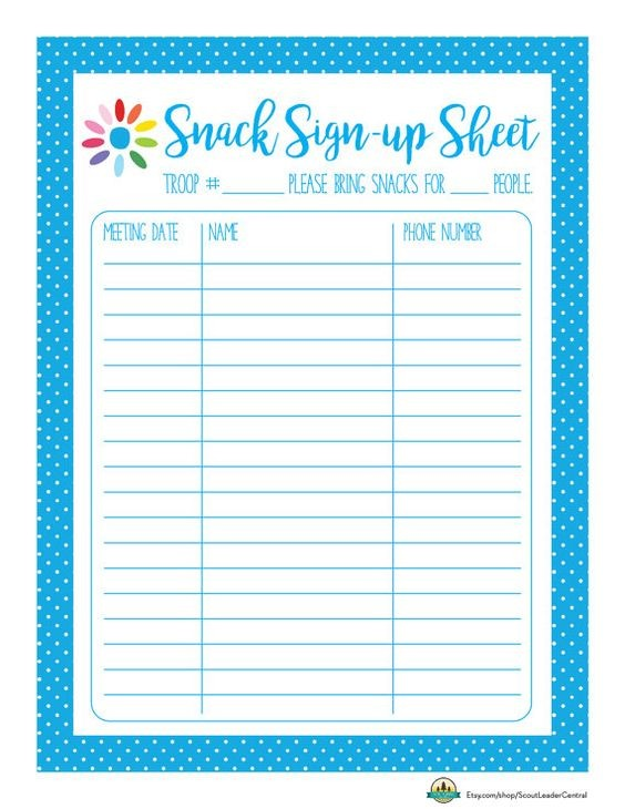 Instant Download Daisy Girl Scout Snack Sign Up Sheet