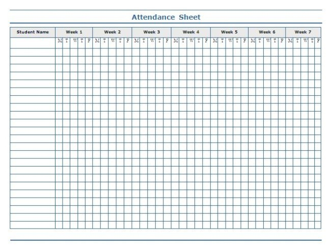 Interesting Attendance Sheet Template Sample For School