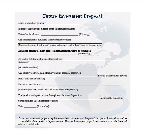 Investment Proposal Templates Pdf Doc Free