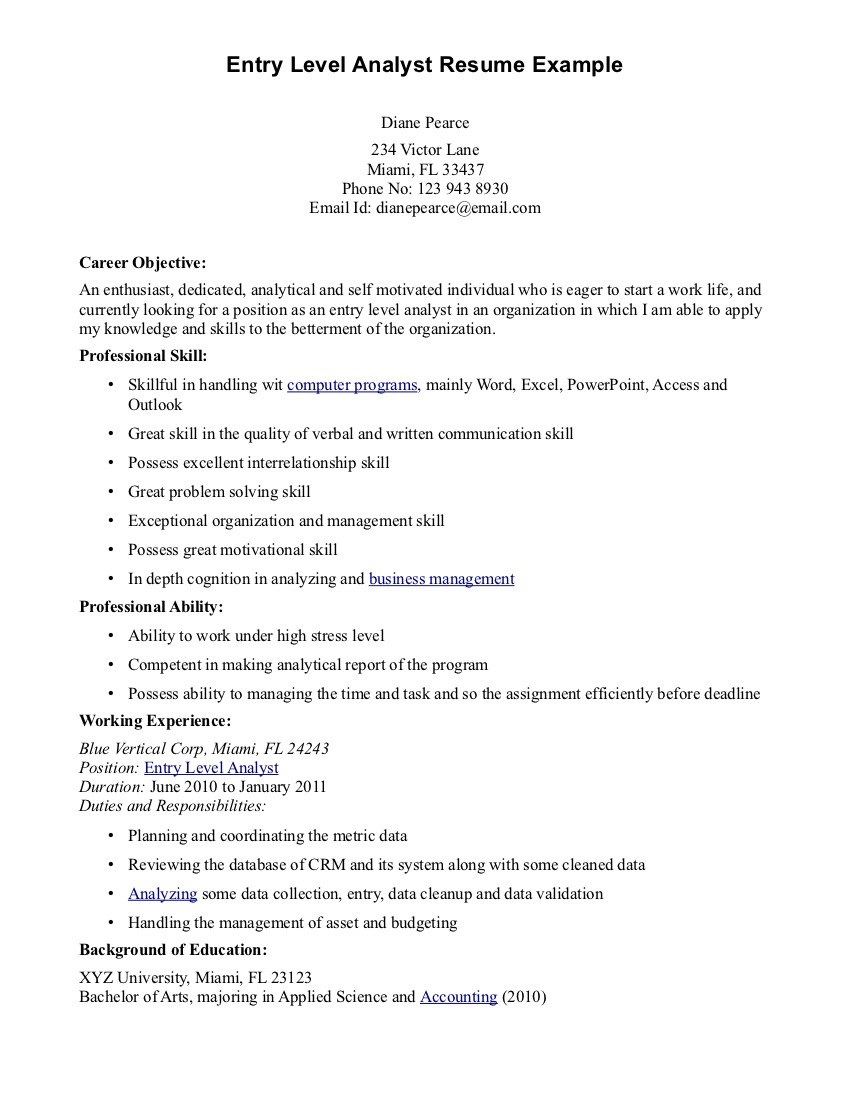 It Business Analyst Resume Entry Perfect Resume Format